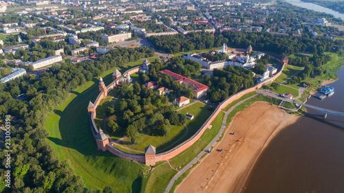 Foto op Canvas Luchtfoto Aerial view on Novgorod Kremlin Russia
