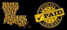 Golden Collage Of Dollar Mosaic Map Of Louisiana State And Paid Rubber Seal Stamp. Vector Watermark With Corroded Rubber Texture And PAID Text.