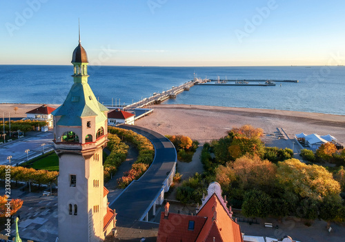 Sopot lighthouse with see bridge - aerial landscape Canvas Print