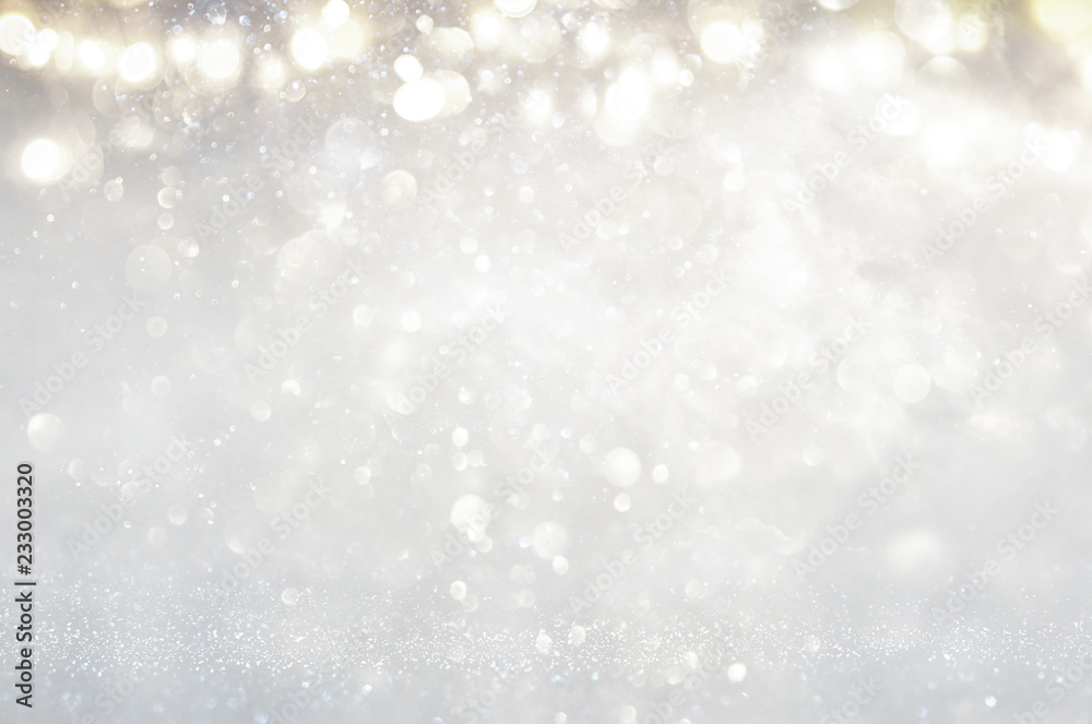 Fototapety, obrazy: glitter vintage lights background. silver and light gold de-focused.