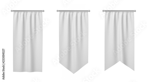Fotografia  3d rendering of three rectangular white flags hanging vertically on a white background