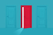 3d rendering of red semi-opened door stands between two closed blue ones on a blue background.