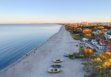 Aerial Autumn View For Gdansk Sea Bay