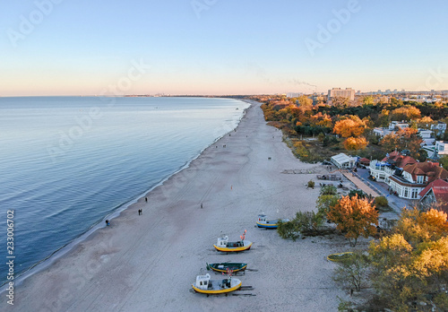 Photo  Aerial autumn view for Gdansk sea bay