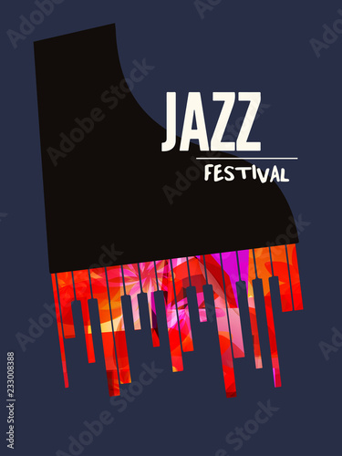 Jazz Music Festival Poster With Piano Flat Vector Illustration Music Background With Music Instrument Music Festival Poster Live Concert Events Party Flyer Brochure Promotion Banner Buy This Stock Vector And Explore