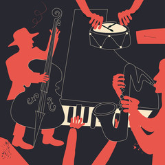 Music background with music instruments flat vector illustration. Artistic jazz music festival poster, live concert events, party flyer with saxophone, violoncello, piano and cymbals