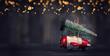 canvas print picture - Weihnachtstanne auf dem Holzflieger
