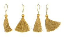 Golden Silk Tassels Isolated O...