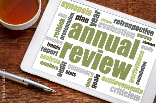 Fototapety, obrazy: annual review word cloud on tablet