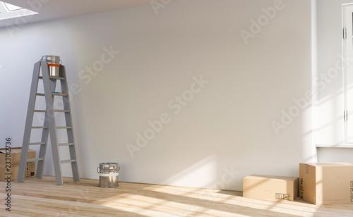 Fotografie, Obraz  3D Illustration leerer Raum Wohnung Renovierung