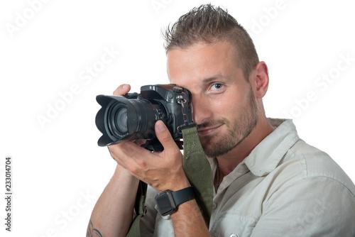 Fototapeta young man photographer isolated on white background obraz na płótnie
