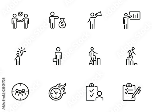 Fotografía  Businessman line icon set
