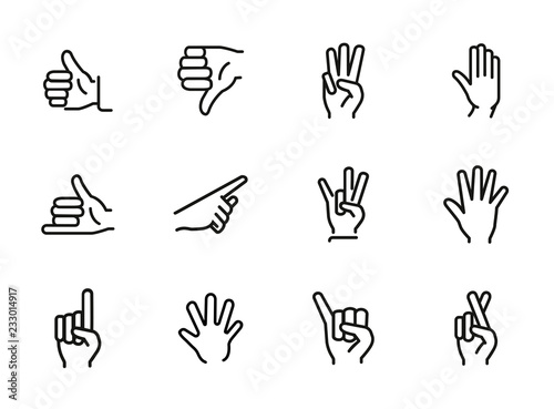 Fotografie, Tablou Gestures line icon set