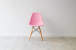 canvas print picture - modern pink chair in background and white decor