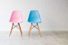 Pair Of Chairs In Pink And Blu...