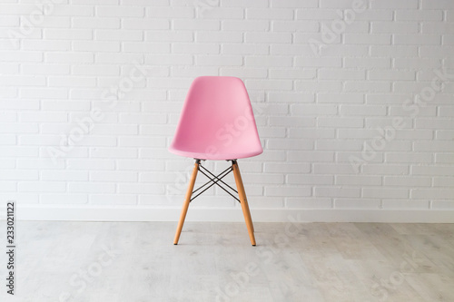 Fotografie, Obraz  modern pink chair in background and white decor