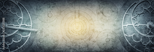 Stampa su Tela Ancient astronomical instruments on vintage paper background