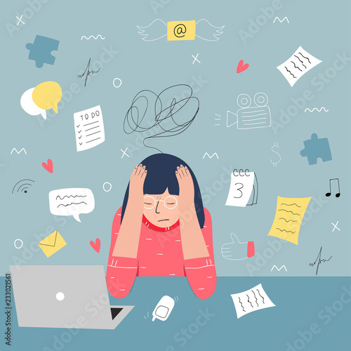 Carta da parati Information overload and multitasking problems concept