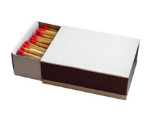 Matchbox With Red Matches Isol...
