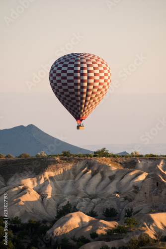 Closeup of red and white hot air balloon