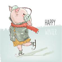 Cute Lovely Cartoon Pig Skating