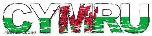 Fotomural Word CYMRU (Welsh translation of Wales) with national flag under it, distressed grunge look
