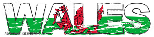 Word WALES with Welsh flag under it, distressed grunge look. Wallpaper Mural