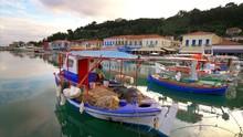 Colorful Wooden Fishing Boats Docked In Katakolon, Greece