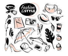 Vector Set Of Modern Lady Fashion Elements & Accessories - Shoes, Glasses, Cosmetics & Aroma, Monstera Leaves, Shopping Bag, Hat, Smartphone Isolated On White Background. Hand Drawn Sketch Style.