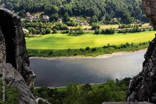 View from old Bastei bridge down on river Elbe in Saxony, Germany #233034536