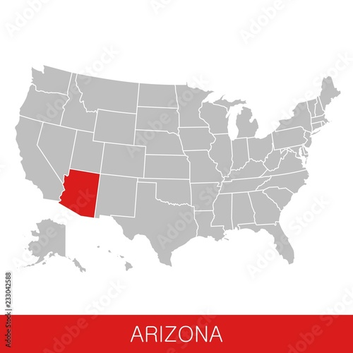 United States of America with the State of Arizona selected. Map of ...