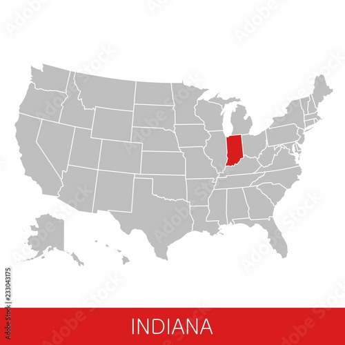 United States of America with the State of Indiana selected ...
