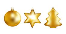 Gold Christmas Toys. Bauble, Star, Fir Tree. Vector Illustration.