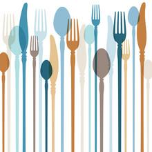 Cutlery Background Blue/Brown Retro