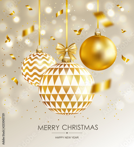 Fototapeta Merry Christmas and Happy New Year card with gold balls and confetti. Vector illustration. obraz na płótnie