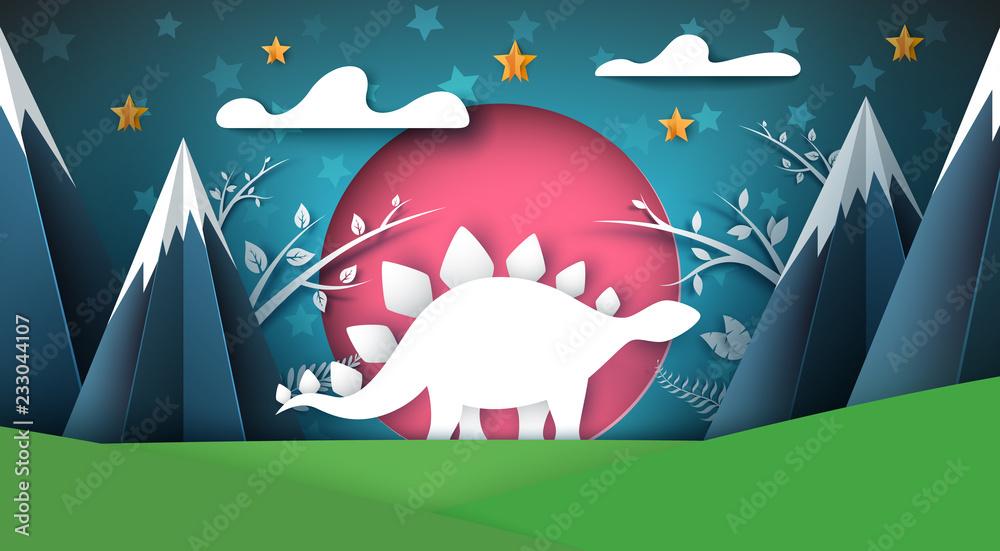 Dino, dinosaur illustration. Cartoon paper landscape Vector eps 10