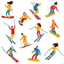 Vector Skiers And Snowboarders...