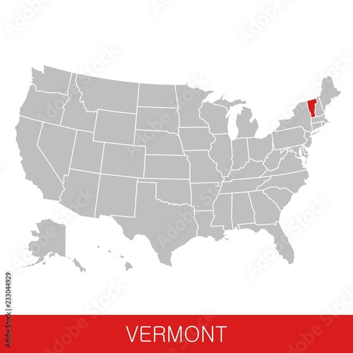 Map Of America Vermont.United States Of America With The State Of Vermont Selected Map Of