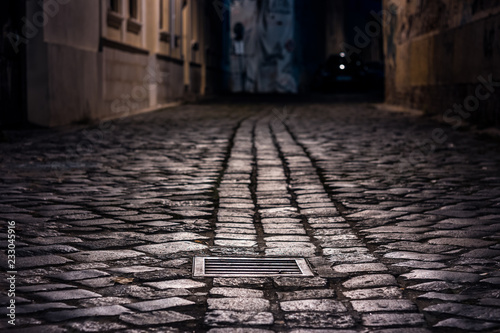 Fotomural Empty alley paved with wet cobblestone at night illuminated by street lamps with