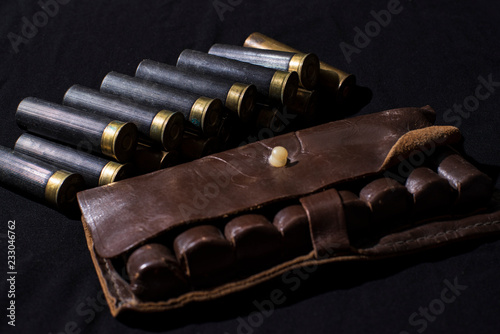 Tablou Canvas Hunting still life, hunter cartridge belt with shotgun shells.