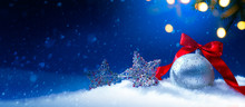 Blue Christmas Greeting Card Background Or Season Holidays Banner