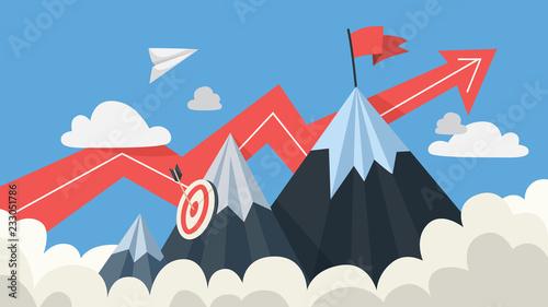 Photo Mountaing as a metaphor of goal and success