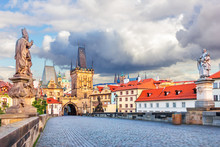 Charles Bridge With Statues Of Saint Augustine Of Hippo And St P
