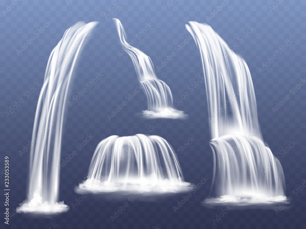 Fototapeta Waterfall or water cascade vector illustration. Isolated realistic set of flowing streams falling down from mountain rocks with splashes and spatters on transparent background