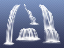 Waterfall Or Water Cascade Vec...