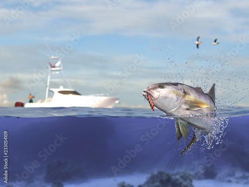 Fotografie, Obraz  Cathing yellowtail amberjack fish, fisherman in sport fishing boat holding big g