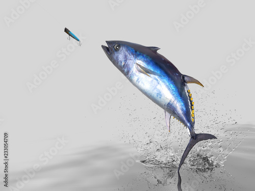 Big catch of  yellow fin  tuna fish  in white background with splashes hooked by Wallpaper Mural