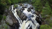 Drone Aerial Of Rogie Falls