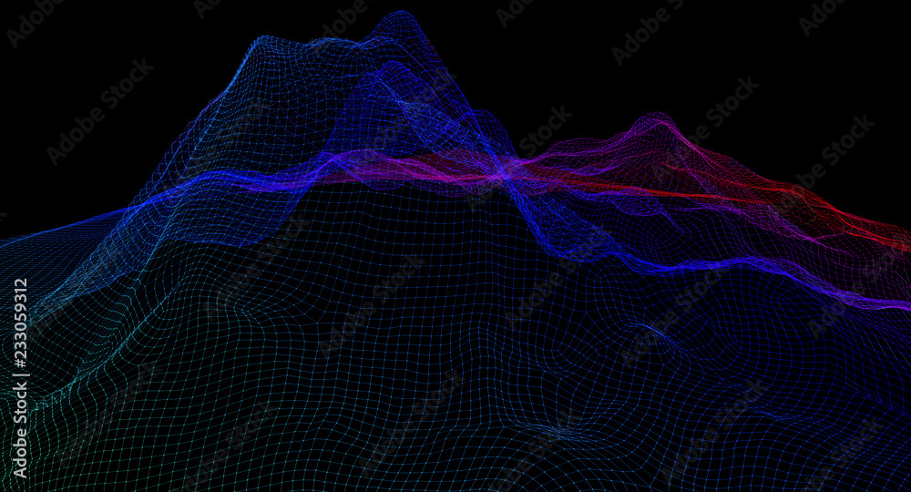 Fototapety, obrazy: lattice frame of a mountain range on a black background. 3d illustration