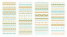 Geometric Patterns, Borders, Decorative Design Elemenis. Ornaments, Brushes, Greeting Symbols Set.